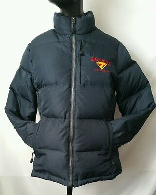 RARE SMALLVILLE Season 7 Cast and Crew Navy Blue Down Jacket Womens size Small