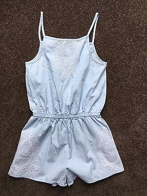 Girls Seed Teen Size 10 Chambray Jumpsuit