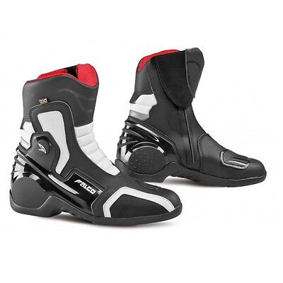Falco Axis 2.1 Waterproof Riding Shoes BlackWht Motorcycle Short Boots Road Bike