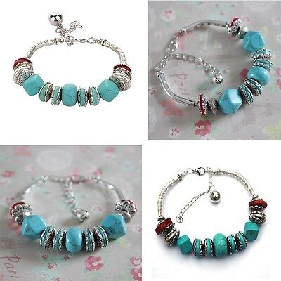 Charm New Beaded Round Anklet Blue Fake Turquoise Bracelet Silver Plated