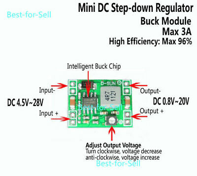 DC-DC 3.3V 5V 6V 9V 12V 3A Buck Step-Down Konverter Adjustable Voltage Regulator