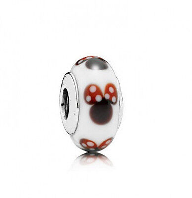 Sterling Silver EURO Charm Minnie Mouse Murano Glass + FREE Pandora Cloth