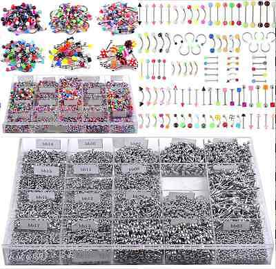 Punk Body Piercing Jewelry 105pcs New Eyebrow Navel Belly Tongue Nose Bar Ring