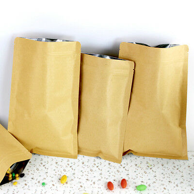 6x8cm Brown Kraft Paper Mylar Zip Lock Bags Aluminum Foil Lining Package Pouch