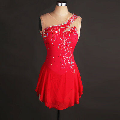 Red Ice Skating Dress Lycra Competition Performance Diamond Skirted Leotard