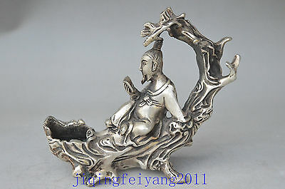 Chinese old tibet silver carve god be seated tree branch unique candle stick