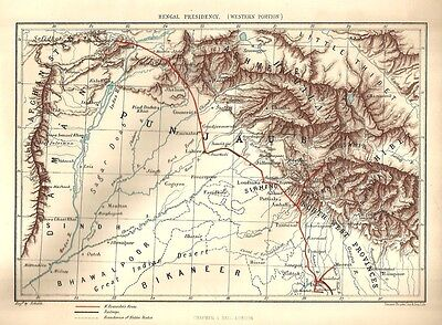 India 1876 Woodcut Engraving MAP OF BENGAL PRESIDENCY