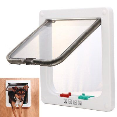 Large 2 Way Lockable Locking Pet Cat Dog Safe Security Brushy Flap Door White