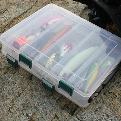 Double Sided 12 / 16 Compartment Fishing Lures Tackle Hooks Baits Storage Box AU