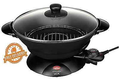 Electric Wok Pan Non Stick Sunbeam Professional Stainless Steel Cooking Frypan