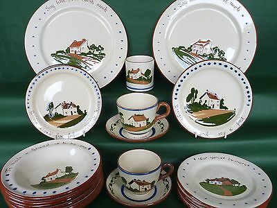 Job Lot 19 pieces Dartmouth Pottery Devon/Torquay Motto Ware. Plates Bowls Cups