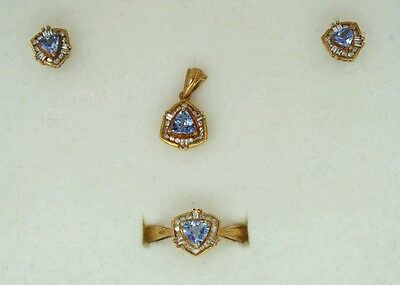 Vintage 9Ct Gold Tanzanite & Diamond Ring Earring Pendant Necklace Set O/p