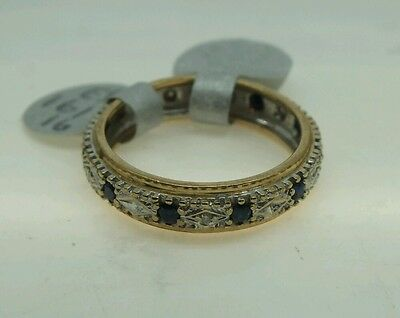 Vintage 9Ct Gold Sapphire And Diamond Full Eternity Ring Size O/p