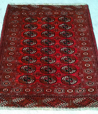 Ancien Tapis pers Boukhara pur laine old carpet rugs tappeto 126X106cm alfombra