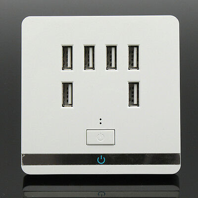 USB Wall Charger Outlet Power Receptacle Socket Plate Panel Switch 3.4A 6 Port