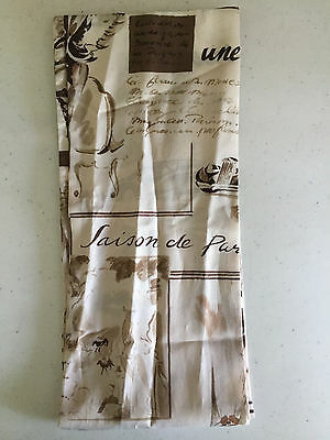 """Vintage French Print Silk Scarf   Brown & Cream   1960s Accessory   6.75"""" x 62"""""""
