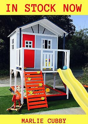 Kid Marlie Wooden Big Cubby Wooden Play House for Backyard Playground