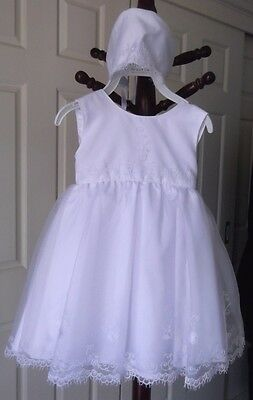 WHITE BABY DRESS, BONNET, PANTS, 1year, HANDMADE EMBROIDERED ORGANZA, BRAND NEW