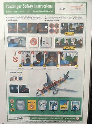 Ethiopian Airlines 787 Safety Card (Replica Card)