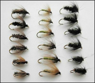 Wet Trout Flies, 18 Pack, Greenwell, Black & Peacock, Coch Y Bondhu, Mixed Size