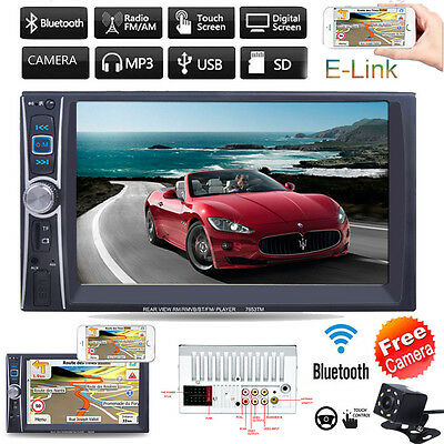 7'' HD 2DIN Bluetooth Touch Car Radio Stereo MP3 MP5 Player AUX/GPS/USB/TF + CAM