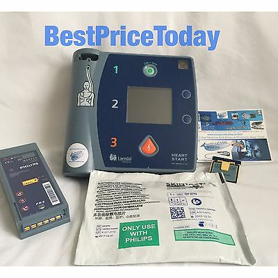 PHILIPS Laerdal HEARTSTART FR2+ defib AED Battery Skintact Pads Electrodes Card