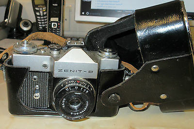 Vintage Zenit-b Camera 1970's Russian with Industar 50 mm lens and case