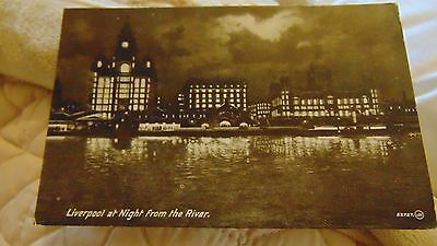 1928 Postcard Liverpool At Night From The River
