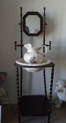 Wash Stand And Jug Set Reproduction?? Wash Stand Is Wonky And Needs Tlc Must See