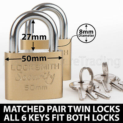 Padlocks X2 Twin Pack 6 Keys Fit Both Locks 50Mm Good Quality Strong Garage Shed
