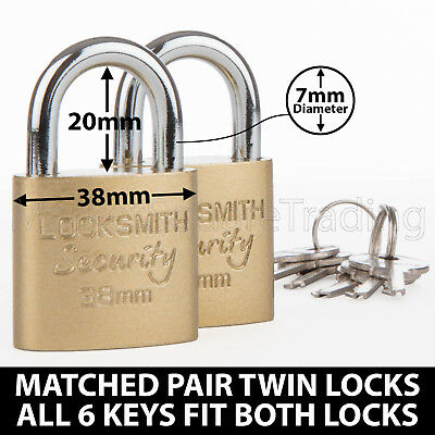 Padlocks X2 Twin Pack 6 Keys Fit Both Locks 38Mm Good Quality Strong Garage Shed