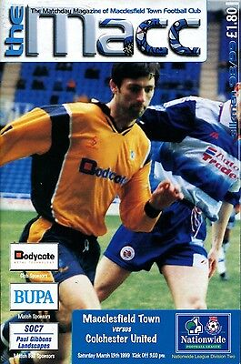 Macclesfield Town v Colchester United 13/03/99 Division 2