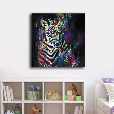 50×50×3cm Watercolor Zebra Canvas Prints Framed Wall Art Home Decor Painting