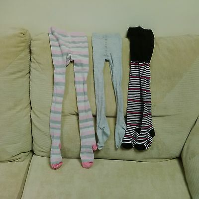 Three pairs of girls tights - aged 5-6 years - patterned, must see
