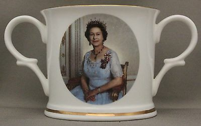 Royal Crown Derby 2-handled Loving Cup  -  Queen Elizabeth's  40th anniversary//