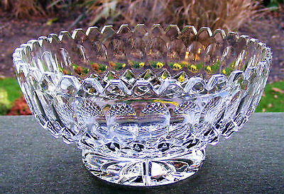 """Beautiful Vintage Cut Glass Crystal 7"""" Footed Bowl With Sawtooth Rim"""
