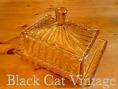 VINTAGE RETRO ART DECO AMBER PRESSED GLASS BUTTER CHEESE DISH BAGLEY 30/40's EXC
