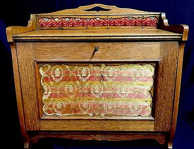 Edwardian Oak Table Top Writing Cabinet With Fall Front & Inlaid Material Panel