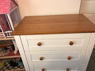'Mothercare ' Nursery Furniture .. White and Oak Wardrobe & Set Of Drawers