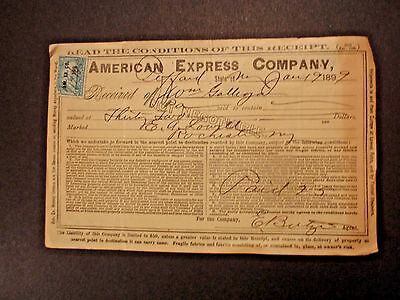 1899 AMERICAN EXPRESS CO. RECEIPT with REV