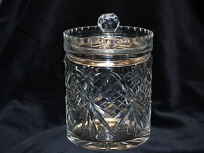 Quality Crystal Cut Lidded Biscuit Jar  / ice bucket