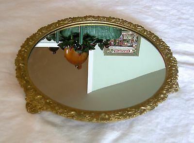Antique BURNISHED GOLD PAINTED PLATEAU MIRROR W/ FEET Victorian ORNATE