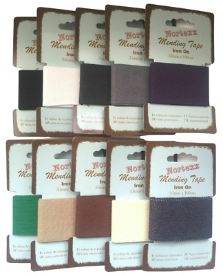 Nortexx Iron On Mending Tape Repair Fabric 100% Cotton 1m x 35mm ALL COLOURS