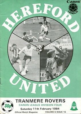 Hereford United v Tranmere Rovers 11/02/84 Division 4
