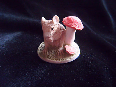 Sweet little miniature ceramic mouse ornament, handmade and painted
