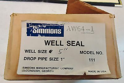 "Simmons Aw64-1 Well Seal Model# 111, Well Size 5"",drop Pipe Size: 1"" Made In Usa"