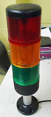 "Telemecanique Signal Light Tower: Red, Yellow And Green. 11 3/16 Tall, 2 5/16"" D"