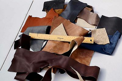 Brown leather Assorted Cowhide scraps small pieces 0.45 Kg Various textures