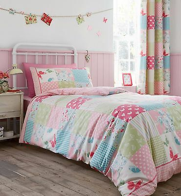 Girls Pink Patchwork Bedding And Curtains ~ Cotbed/single