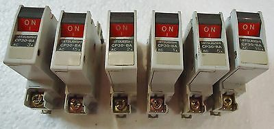 6 Mitsubishi Circuit Protector Model# Cp-30-Ba, 1 Pole, Made In Japan